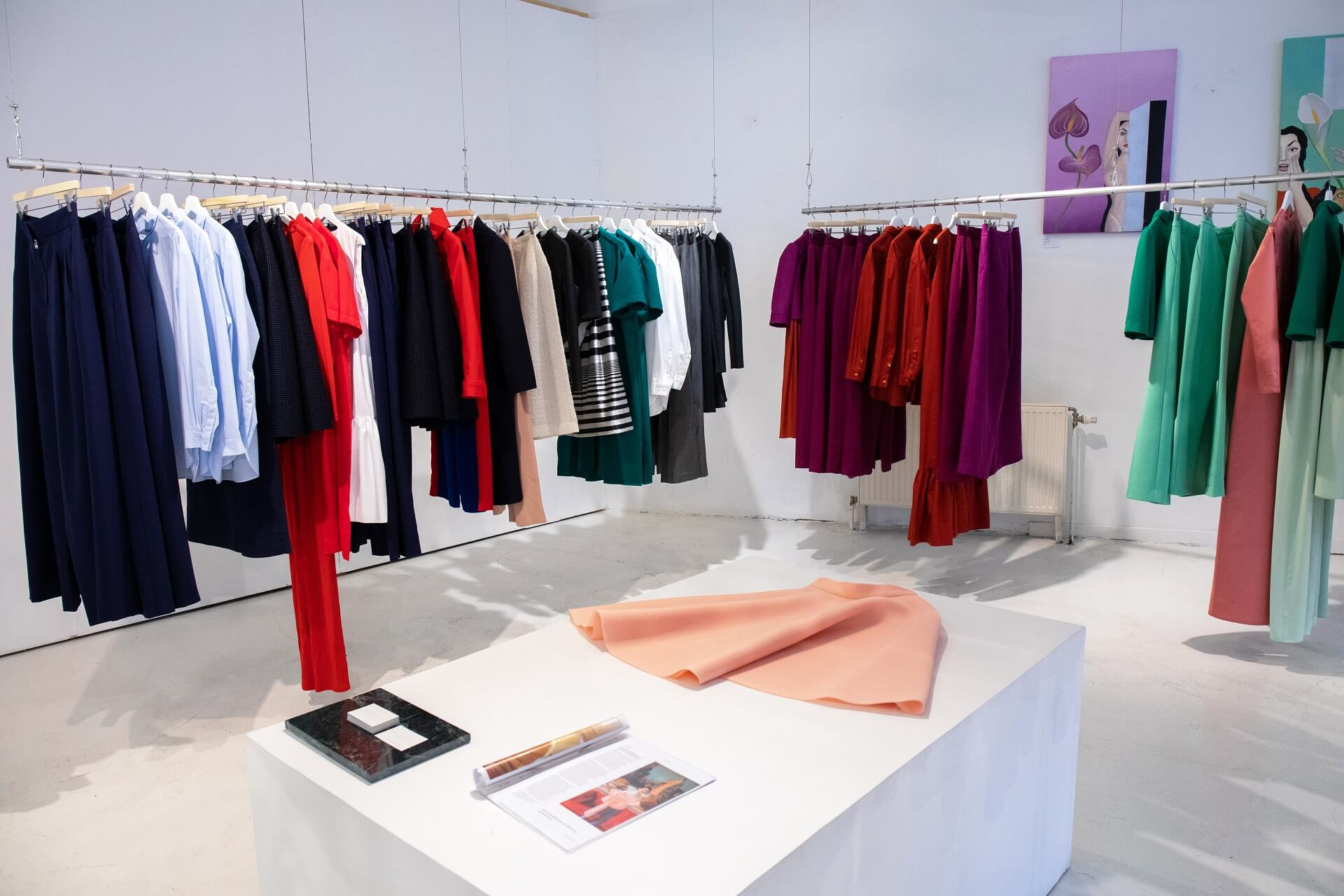Boutique rack with clothes