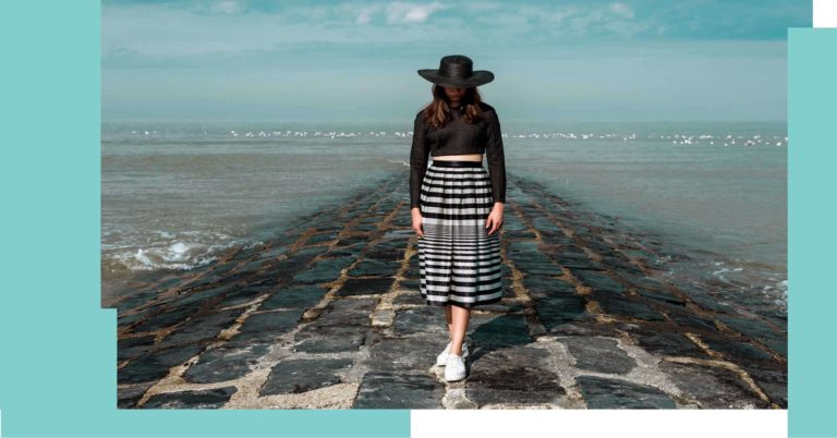 Ataman Label collection black and white stripped skirt